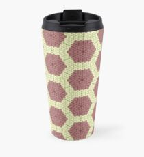 Knitted Hexagons in Pink and White Travel Mug