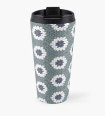 Blue and White Knitted Flowers Travel Mug