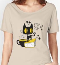 Books and Cats and Tea Women's Relaxed Fit T-Shirt