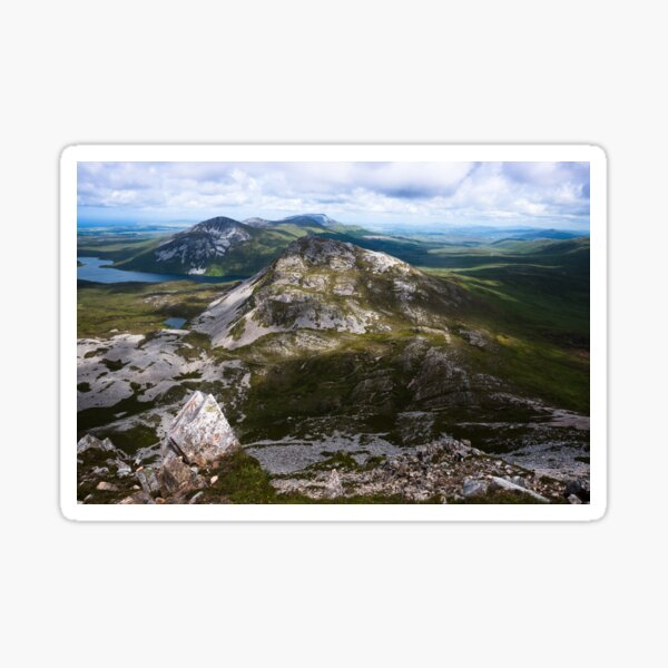 View from the summit of Mount Errigal in the range of Derryveagh Mountains in Glenveagh national park, Donegal, Ireland. Sticker