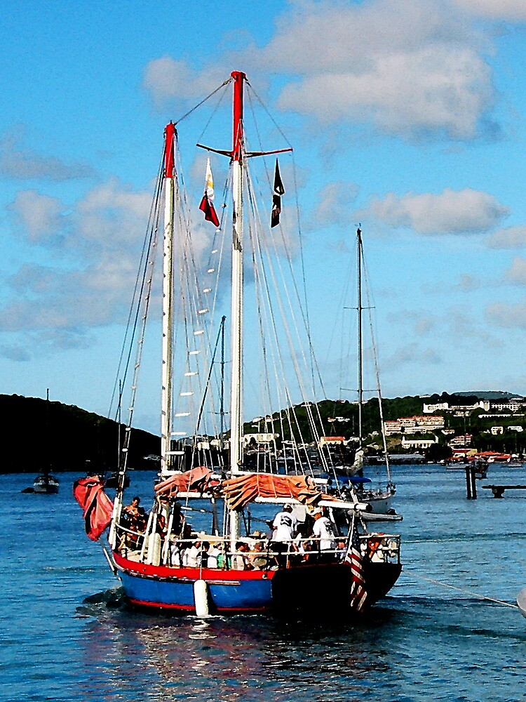 Red, White and Blue Boat at St. Thomas by Susan Savad