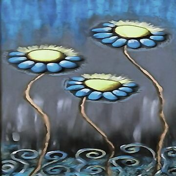 Blue and Gray Cheerful Childlike Spring Daisies by taiche