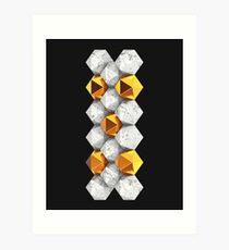 Golden & Marble Nuggets Dark Art Print