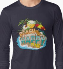 The Beach Is My Happy Place Art | Cool Nature Lover Gift Long Sleeve T-Shirt