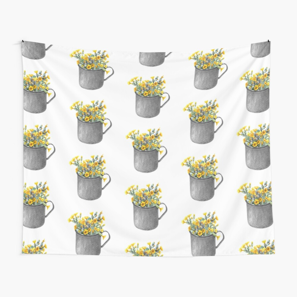 Mug with primulas Wall Tapestry