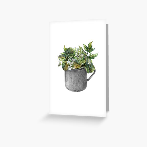 Mug with green forest growth Greeting Card