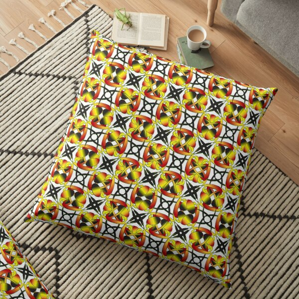 Intricate repeating pattern in yellow, black, and red Floor Pillow