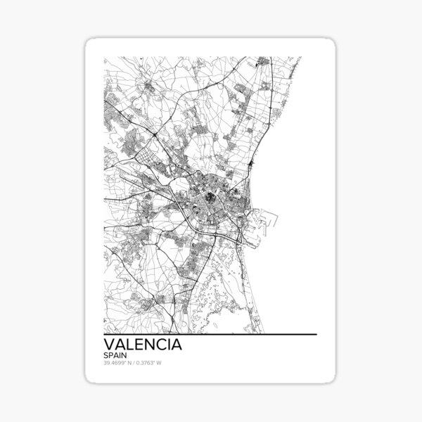 Mapa de Valencia, póster impreso, arte de pared, regalo de España para imprimir, hogar y guardería, decoración de mapa moderna para oficina, mapa de arte, mapa de regalos Pegatina
