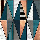 Copper, Marble and Concrete Triangles with Blue by Zoltan Ratko