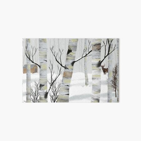 Snowy White Birch Art Board Print