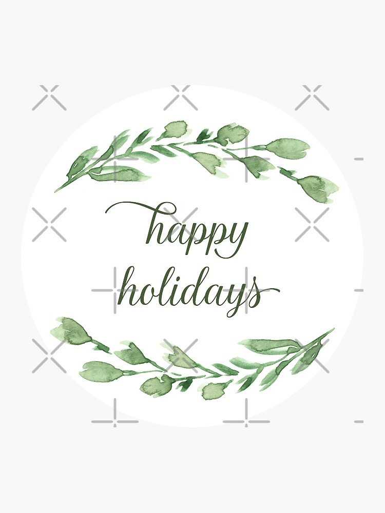 Happy holidays with watercolor greenery by blursbyai