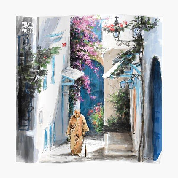 Une vieille dame marchant dans la ville, T-shirt, Posters et Cadeaux Tunisie Poster