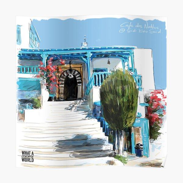 Les marches du Café des Nattes, T-shirt, Posters et Cadeaux Tunisie Poster