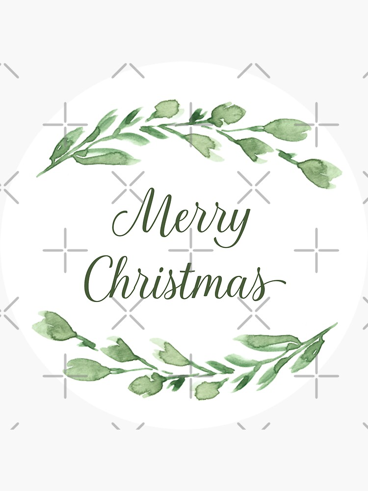 Merry Christmas with watercolor greenery by blursbyai