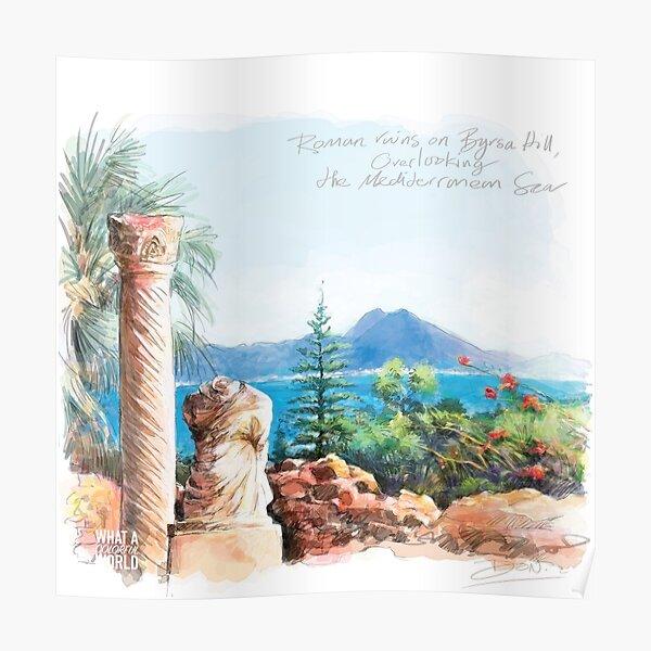 Les ruines romaines sur la colline de Byrsa, Tunisie T-shirt, affiches et cadeaux Poster