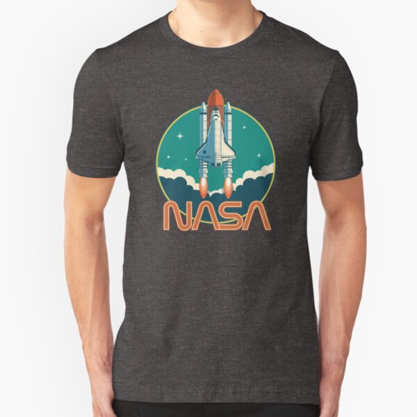 NASA Retro Space Shuttle Logo Slim Fit T-Shirt