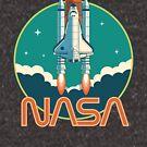 NASA Vintage Retro Space Shuttle Logo by ericbracewell