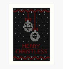 Merry Christless, black Art Print