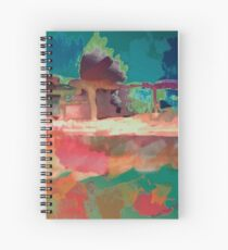 Abstract Laundry Boat in Blue, Green, Orange and Pink Spiral Notebook