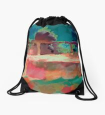 Abstract Laundry Boat in Blue, Green, Orange and Pink Drawstring Bag