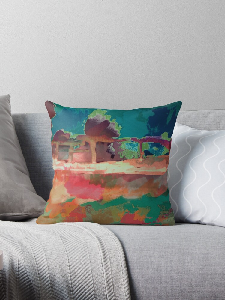Abstract Laundry Boat in Blue, Green, Orange and Pink by ntartworks