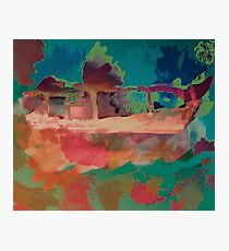 Abstract Laundry Boat in Blue, Green, Orange and Pink Photographic Print