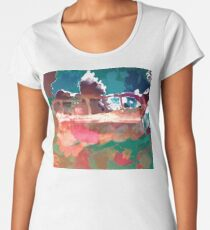 Abstract Laundry Boat in Blue, Green, Orange and Pink Women's Premium T-Shirt
