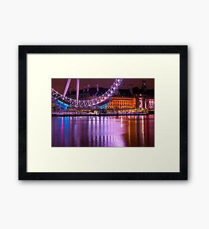 The London Eye at Night: London UK. Framed Print