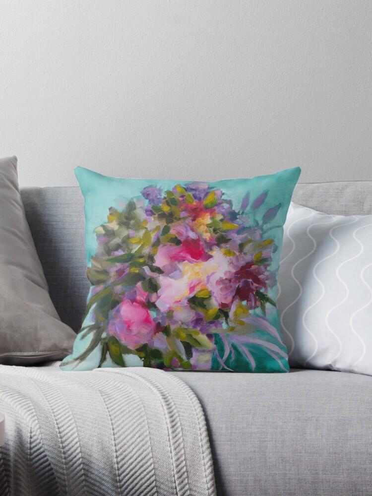 « Bouquet de fleurs sur fond turquoise » par Fabienne Monestier