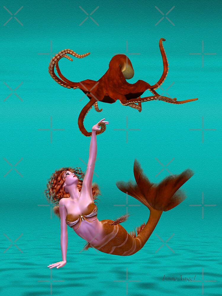 Hooked .. the mermaid and the octopus by LoneAngel