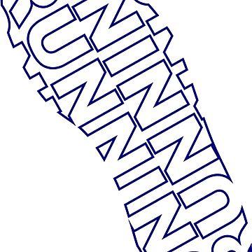 Running Shoe Print Blue by LudlumDesign