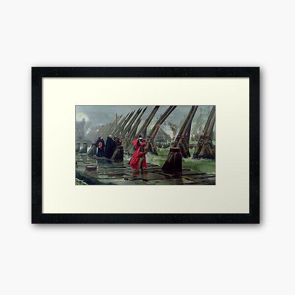 Cardinal Richelieu at the Siege of La Rochelle - Henri Paul Motte Framed Art Print