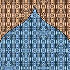 «Cortina en dos tonos azul y marrón» de Lori Kingston