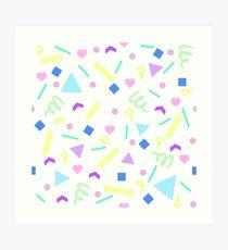 Retro Pastel Confetti in White Art Print