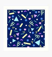 Retro Pastel Confetti in Navy Art Print