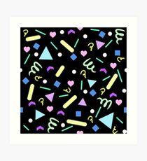 Retro Pastel Confetti in Black Art Print