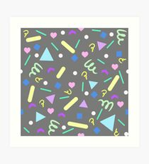 Retro Pastel Confetti in Gray Art Print