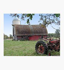 Old Tractor and Barn Photographic Print