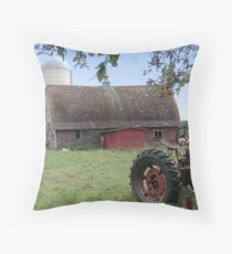 Old Tractor and Barn Throw Pillow