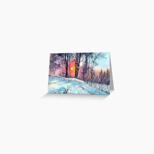 Winter Woodland In The Sun Greeting Card