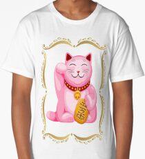 Pink Maneki Neko Lucky Cat Long T-Shirt