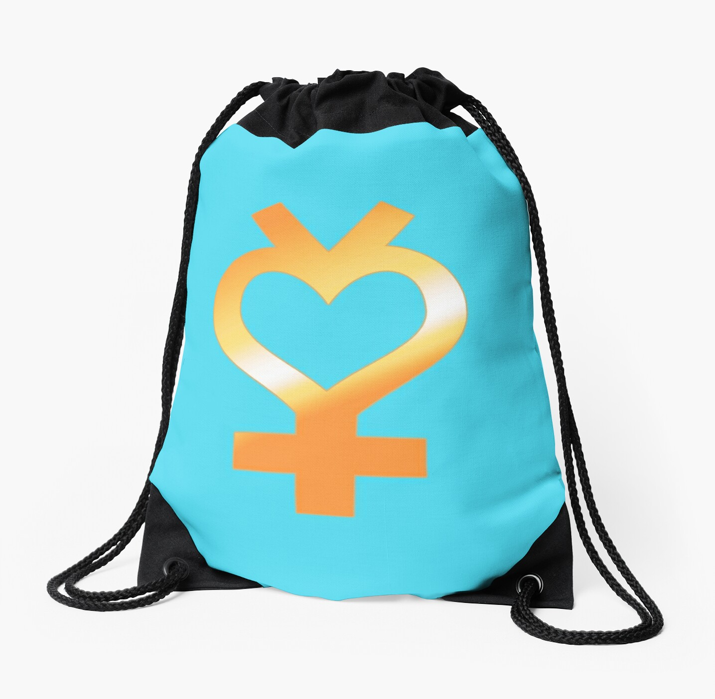 Gold Sailor Mercury Symbol Drawstring Bags By Ali Cooney Uribe