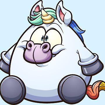 Fat cartoon unicorn by memoangeles