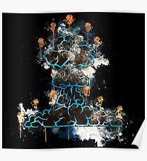 Hiroshima mushroom cloud atomic bomb watercolor painted Poster