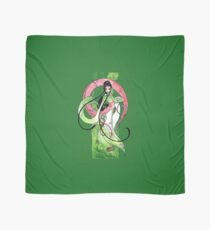 Geisha in Green with Koi and lotus Flowers Scarf