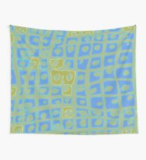 Modern Blue and Green Square Print Wall Tapestry
