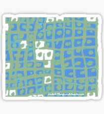 Modern Blue and Green Square Print Sticker