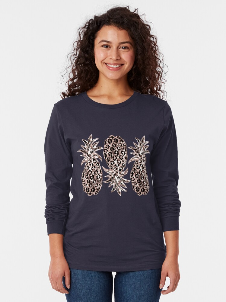 Alternate view of Rose Gold Sparkle Pineapple Long Sleeve T-Shirt