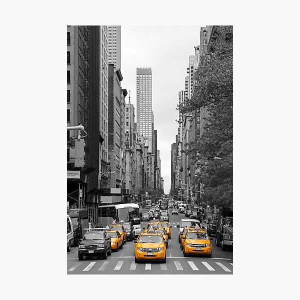 New York Yellow Taxis On Manhattan Streets Photographic Print