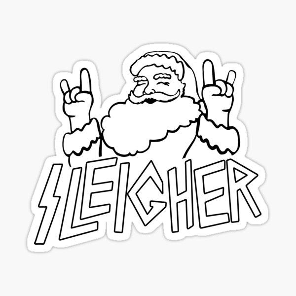 Santa goes Metal Santa Sleigher Funny Christmas for Metalheads  Sticker
